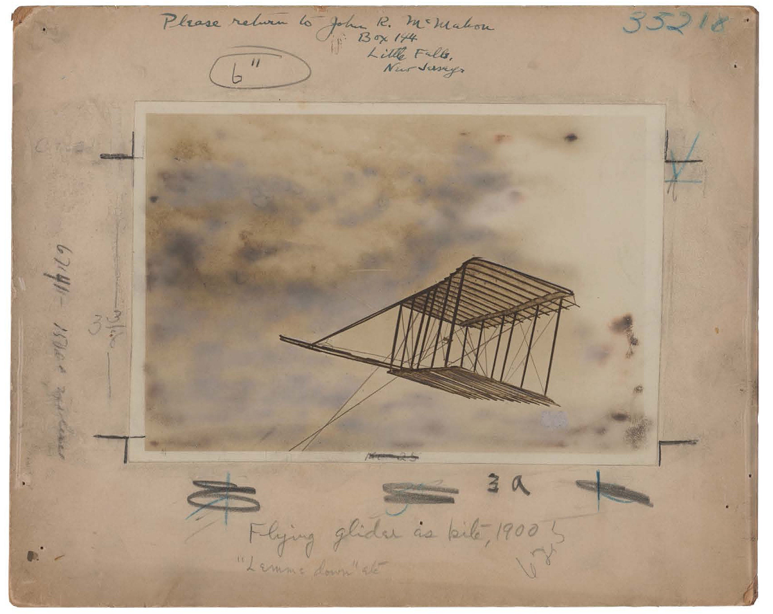 Photo of one of the Wright Brothers' first gliders.