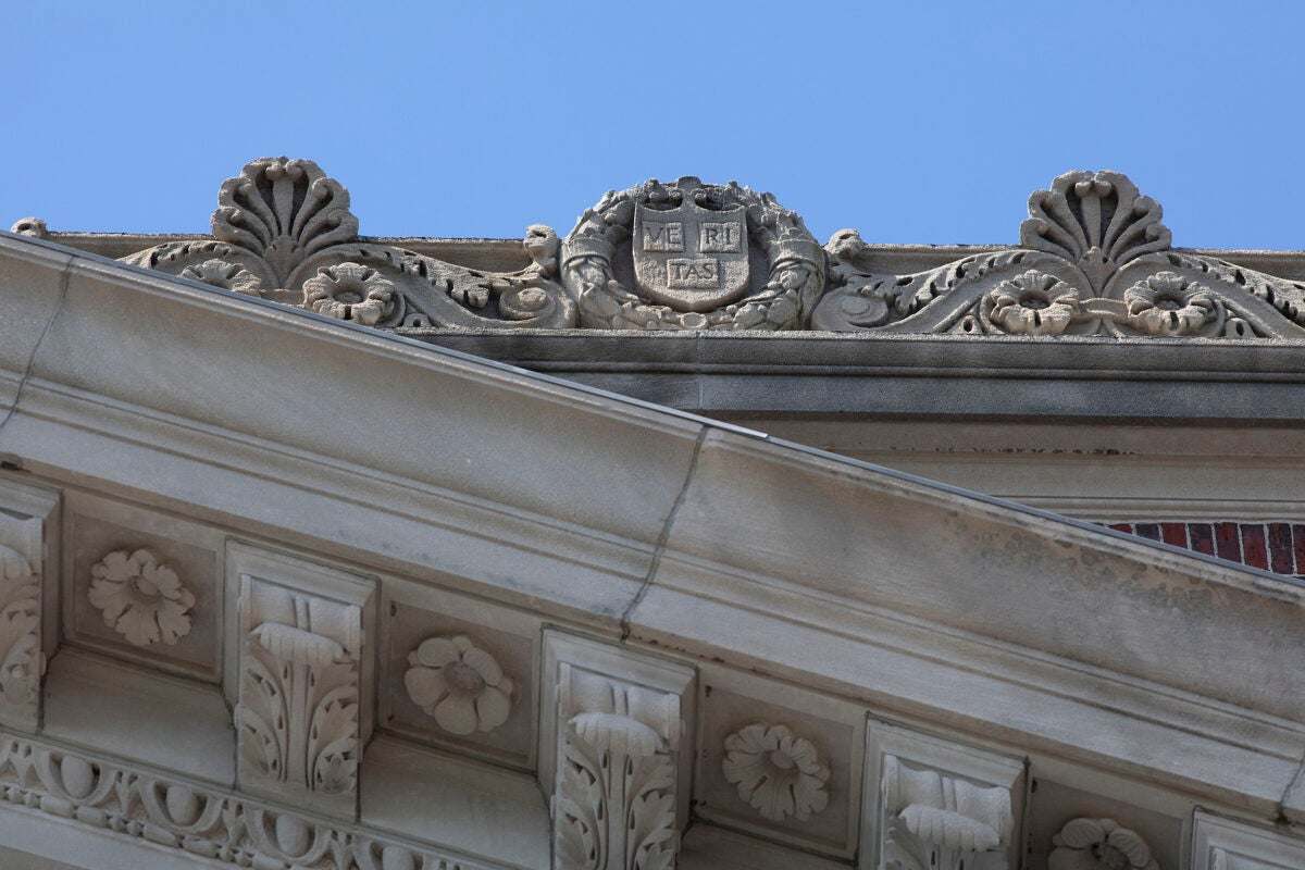 Views of Widener Library's roof, with stone veritas and Harvard shields.