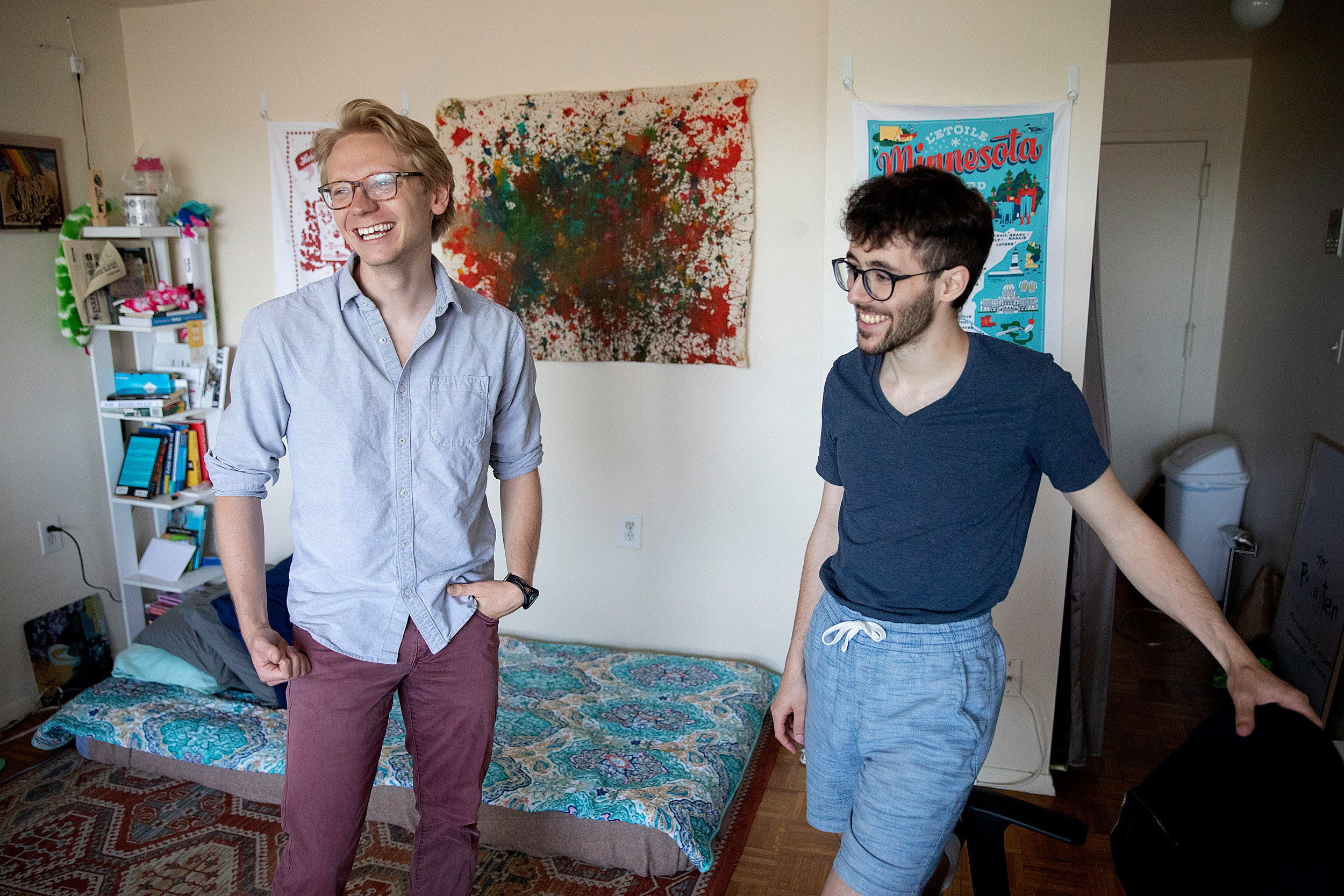 Luke Heine and Raphael Rouvinov work out of their home office in Cambridge