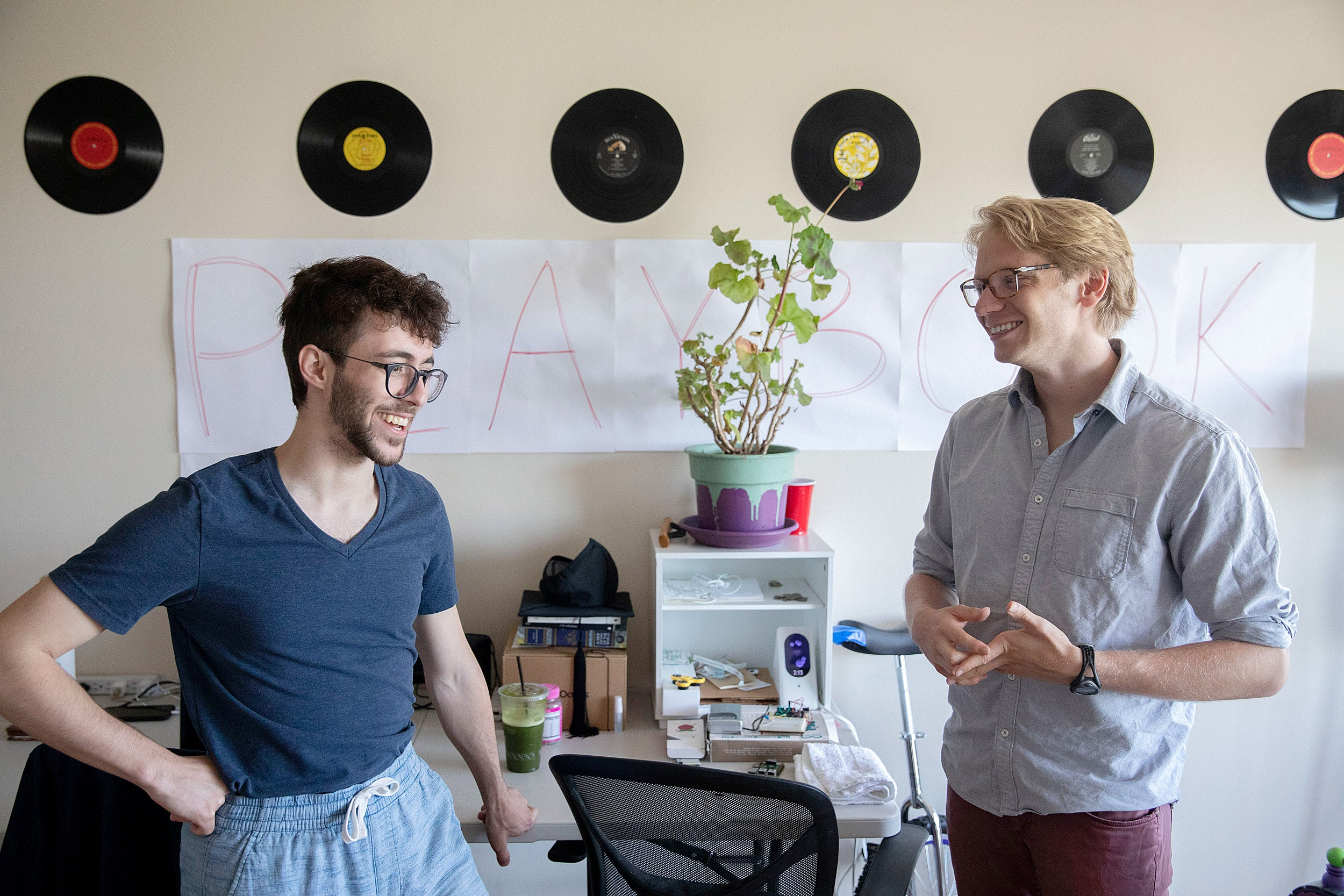 Luke Heine and Raphael Rouvinov in their home office.