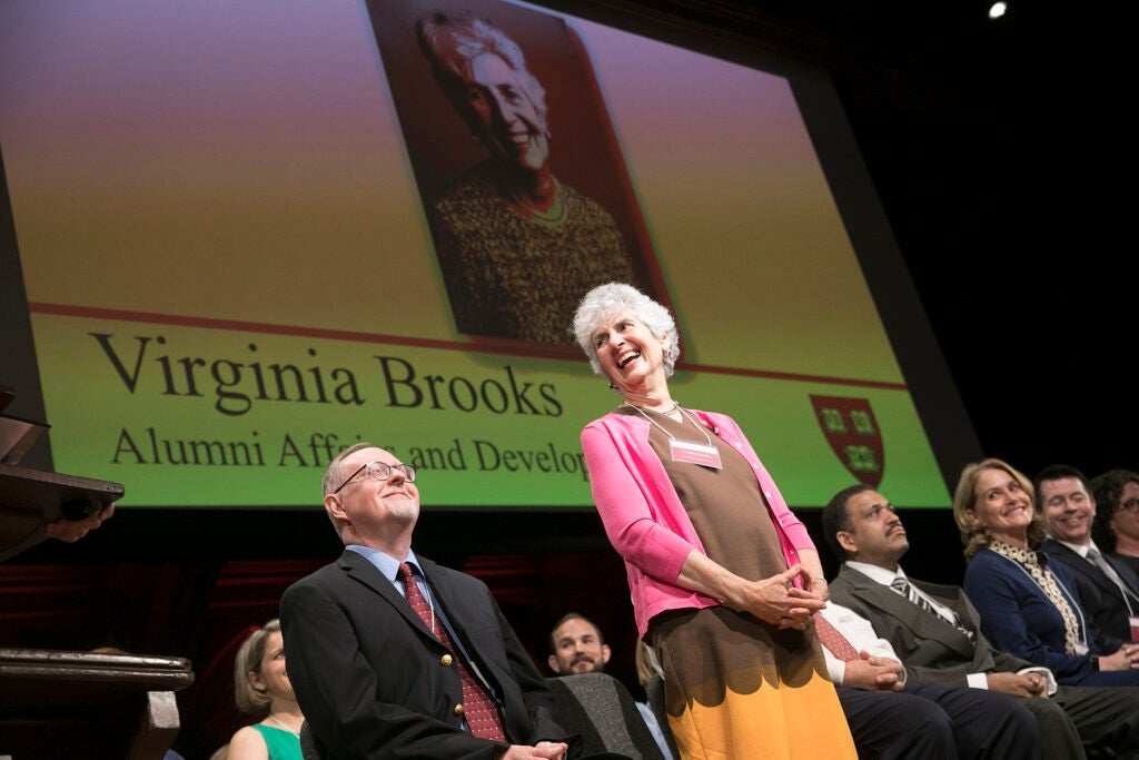 Virginia Brooks laughs onstage