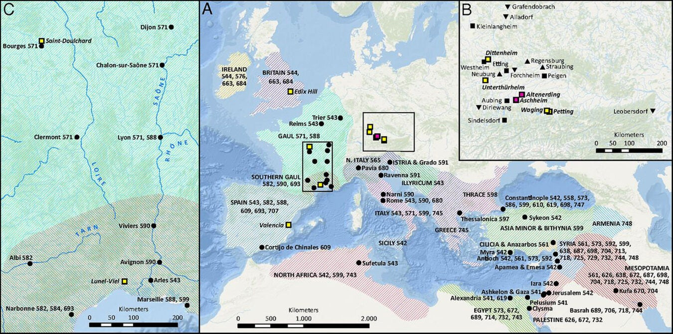 map of plague sites