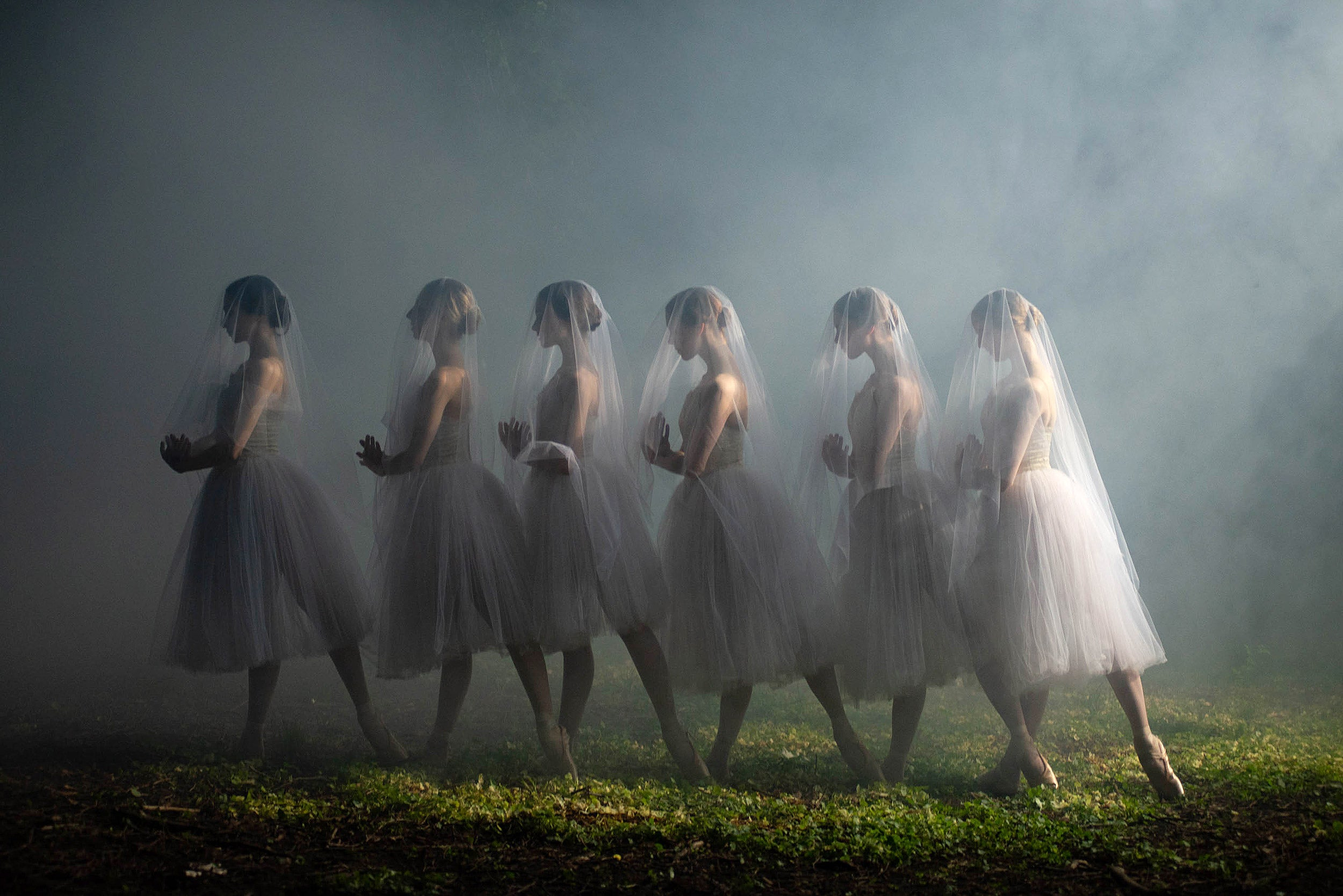 ballet dancers in a row in the mist