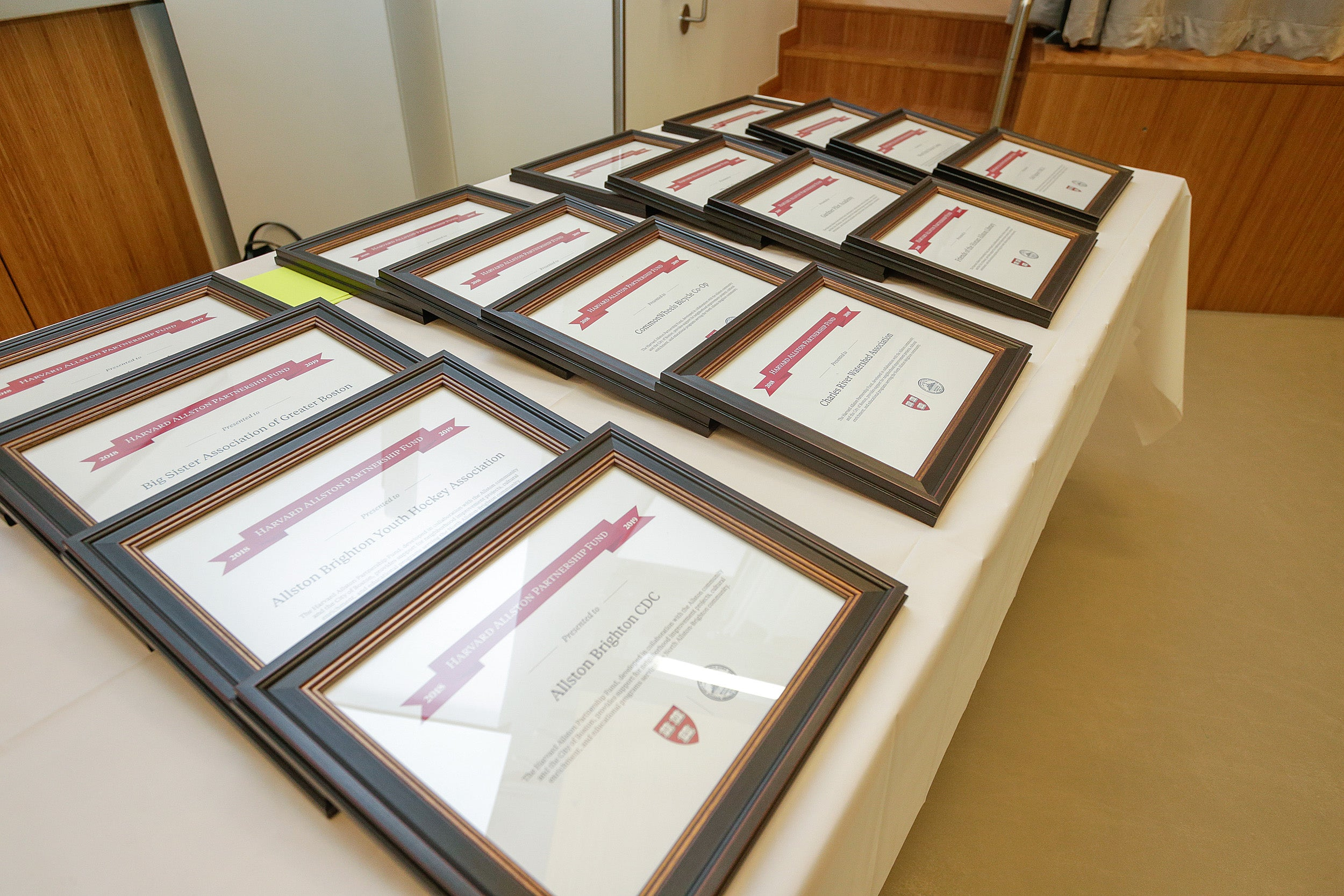 Table of award certificates