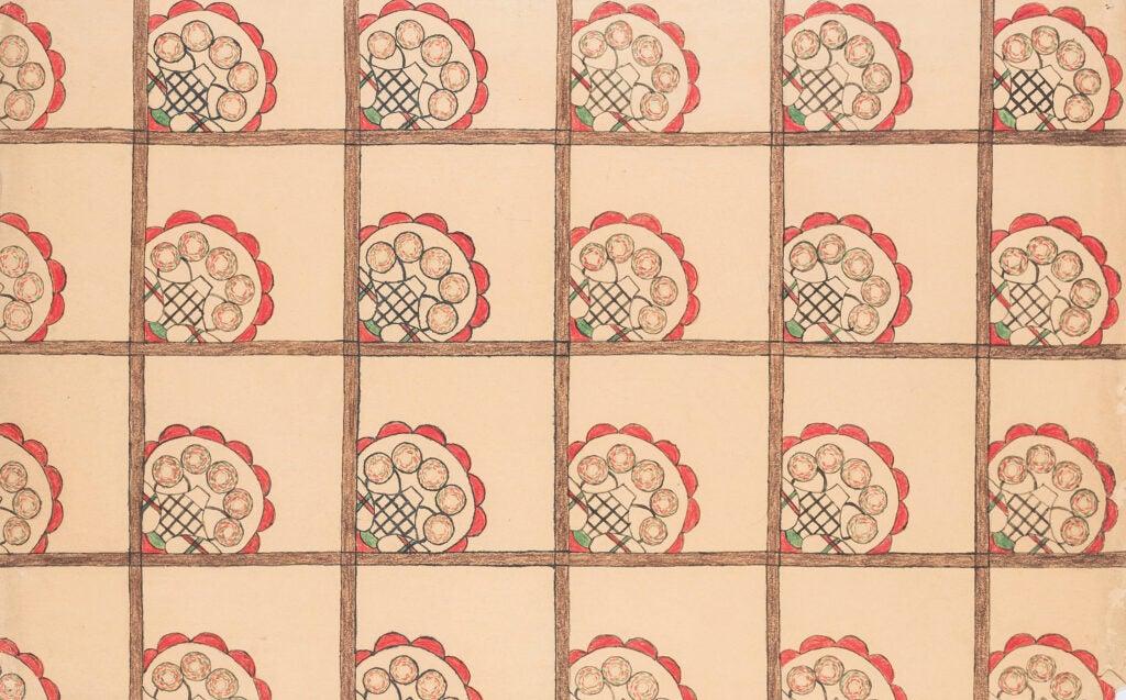 "Middle panel of ""Helen Wills"" is a geometric pattern evoking nets."