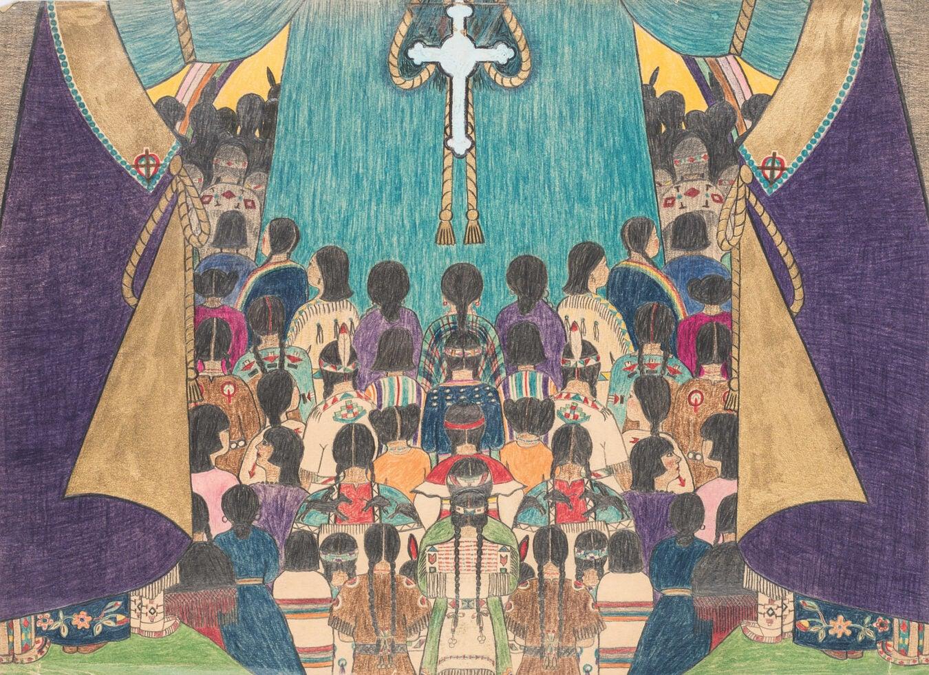 "Top panel of ""Indian Church."""