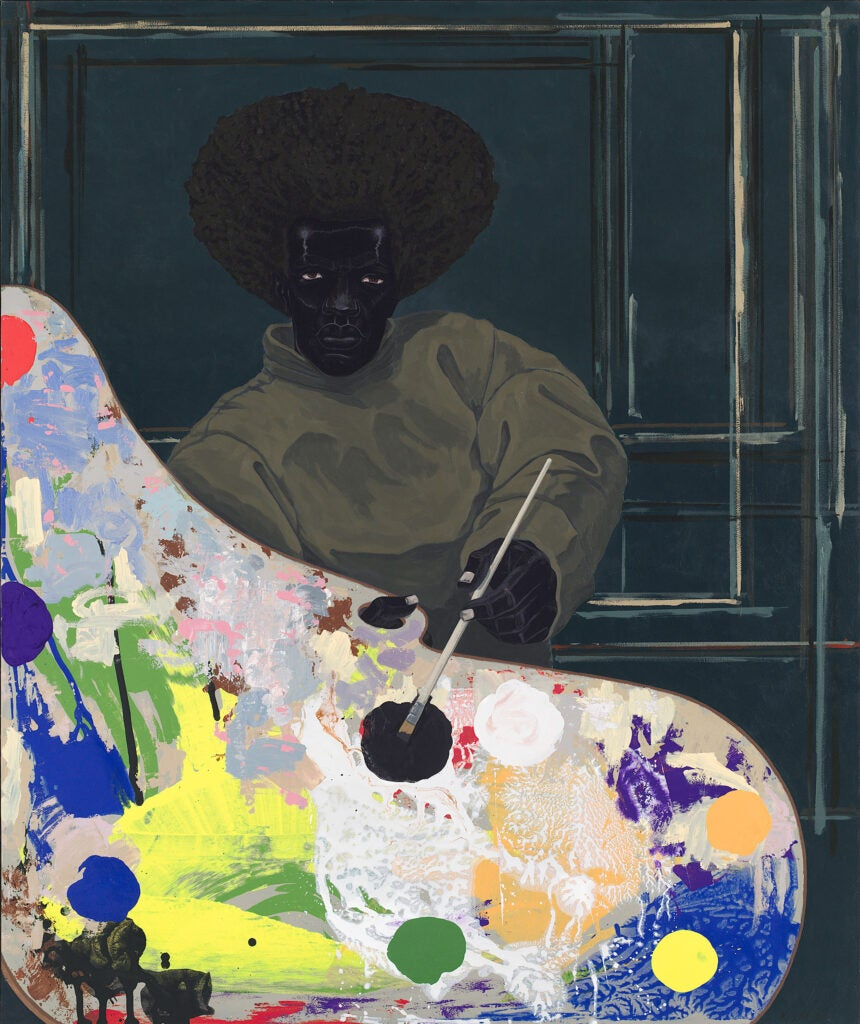 Untitled work by Kerry James Marshall from 2008 depict an artist, palette in hand, gazing out at the viewer.