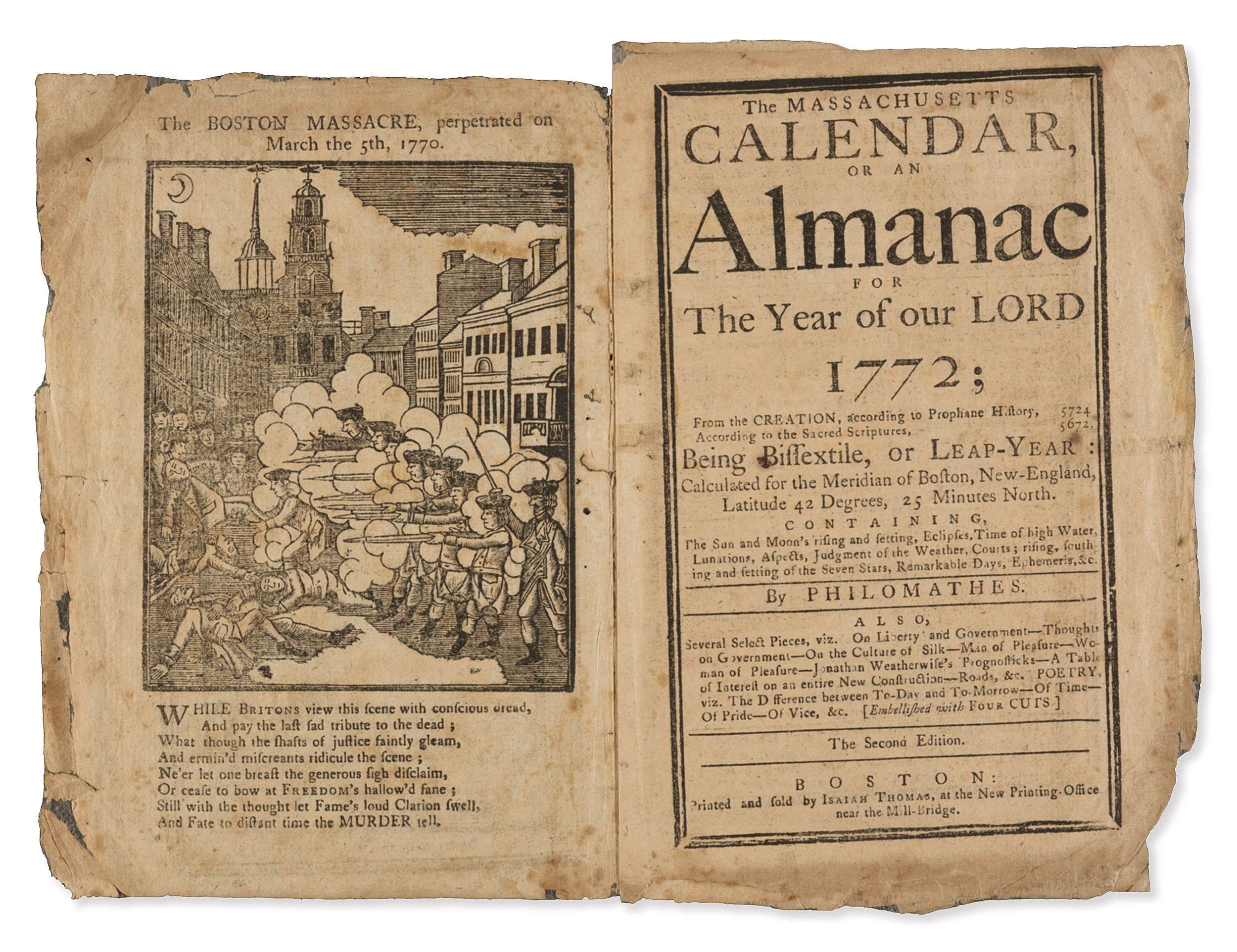 Back cover of John Winthrop's 1772 almanac shows Paul Revere's engraving of the Boston Massacre.