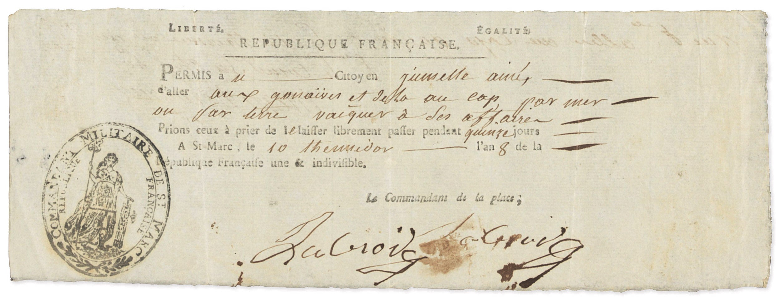 An 1800 permit to travel around the French colony of Saint-Domingue (now Haiti).