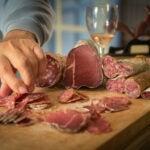 Meats on a charcuterie board