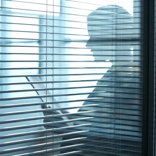 Silhouette of a business woman with documents
