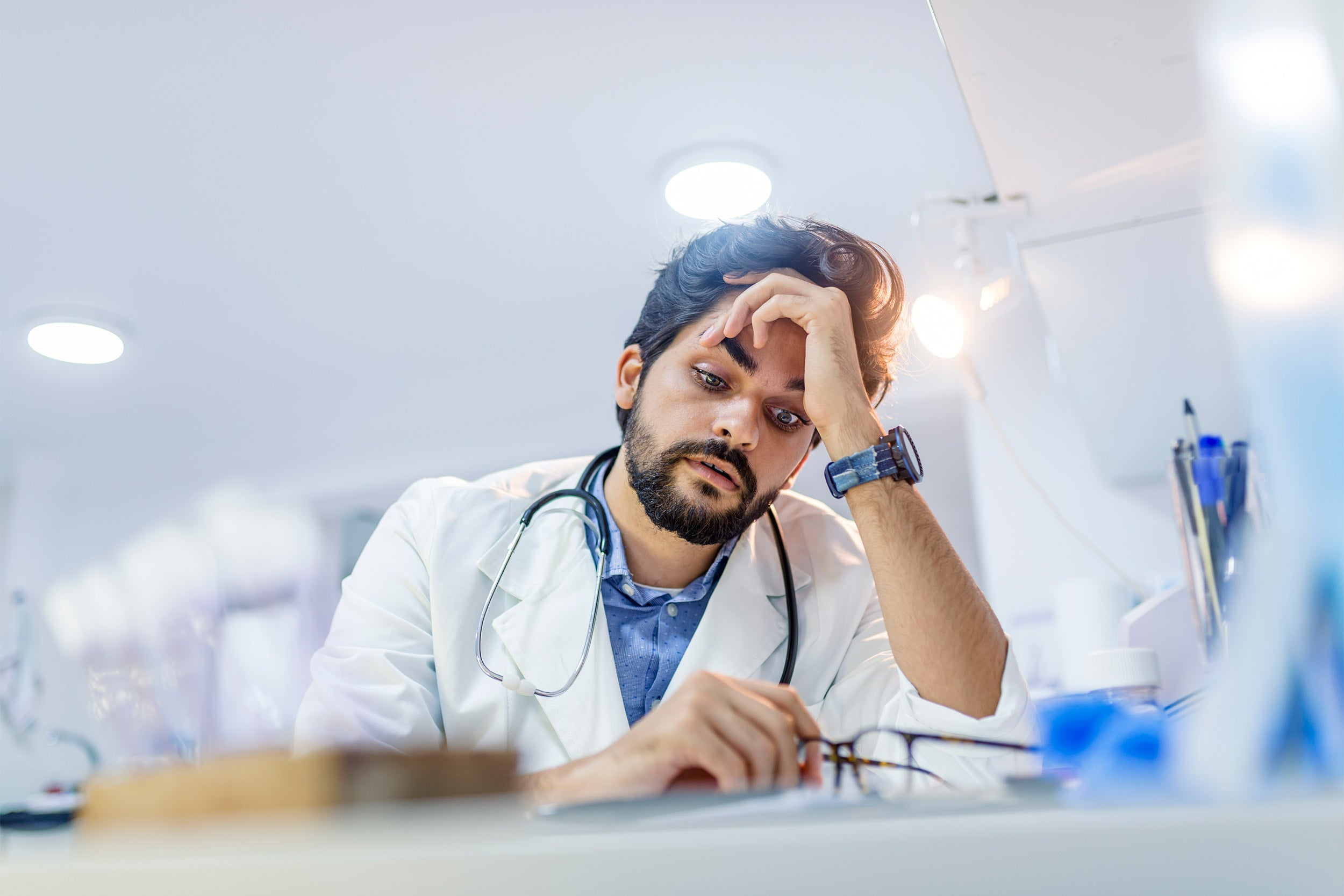 Stressed male doctor