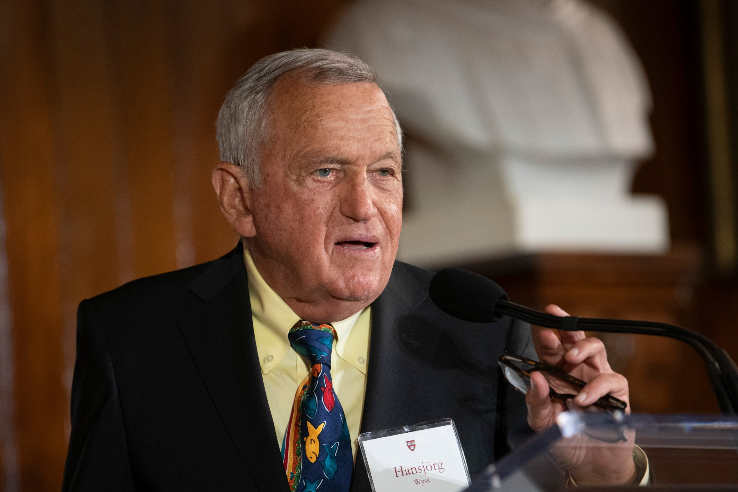 Hansjörg Wyss was honored at a campus event celebrating his support of the Wyss Institute for Biologically Inspired Engineering at Harvard, including his most recent gift of $131 million.
