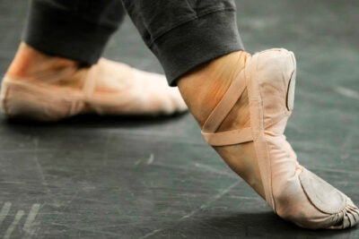 "Feet of a dancer in the ""B-Plus"" position."