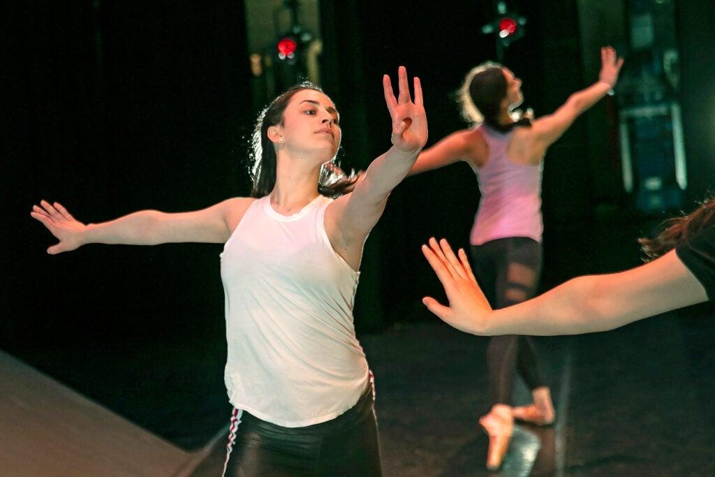 Isabelle Jaffe practices a tendu back lunge.