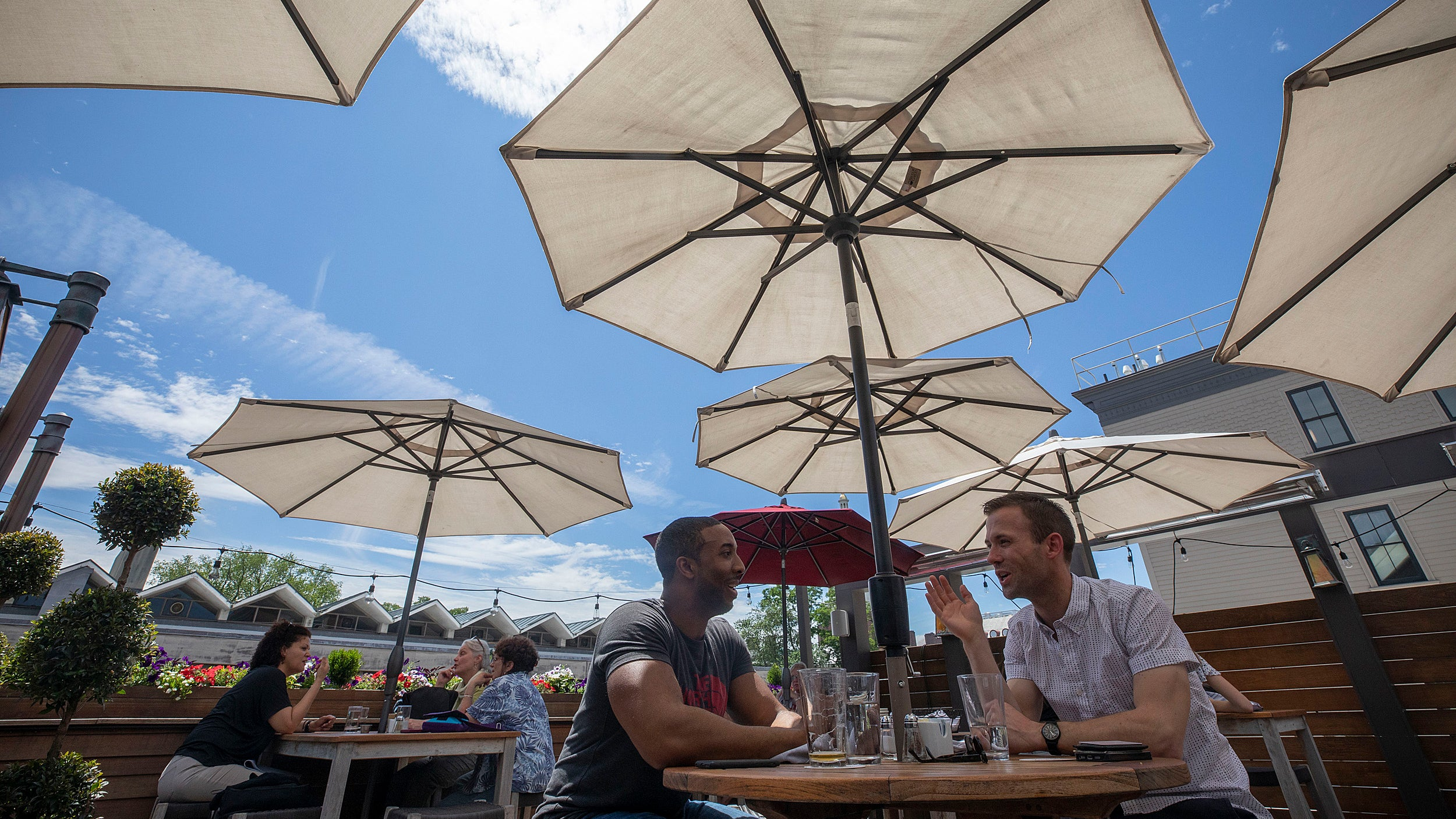Diners perch on the Daedelus roof-deck.