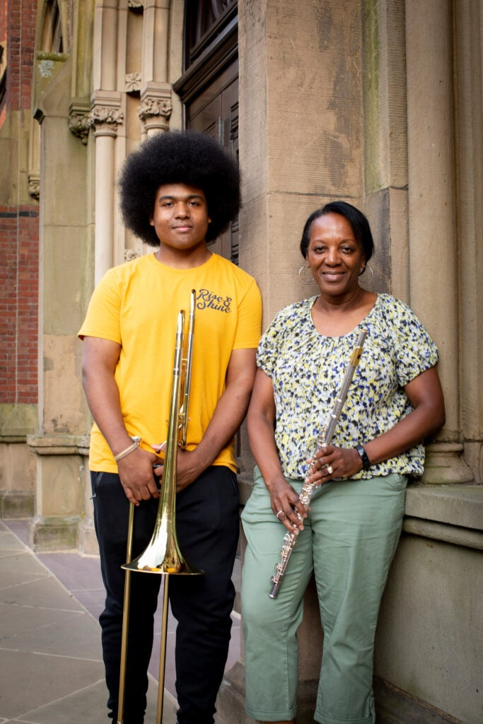 Lewis Bryant and his mother, Helen Bryant play trombone and flute