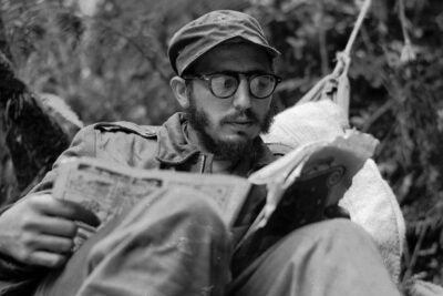 Young Fidel Castro in 1957.