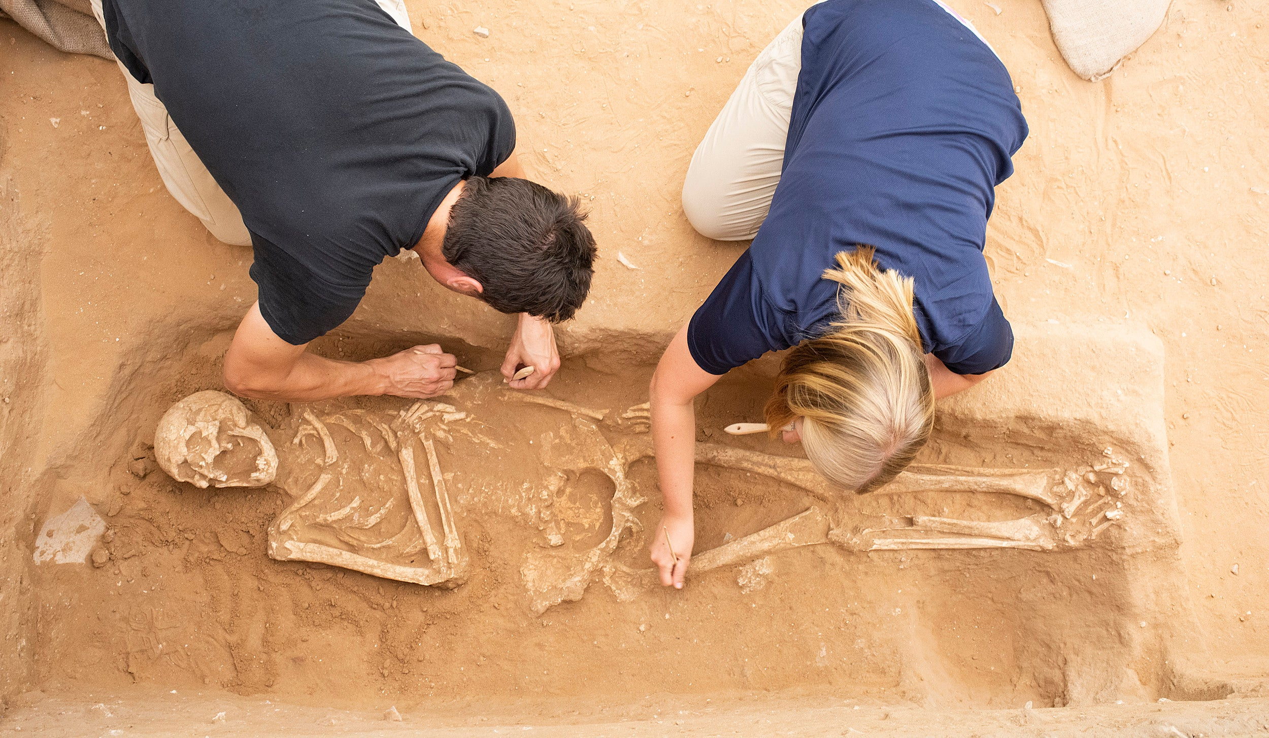 Archeologists excavating a skeleton