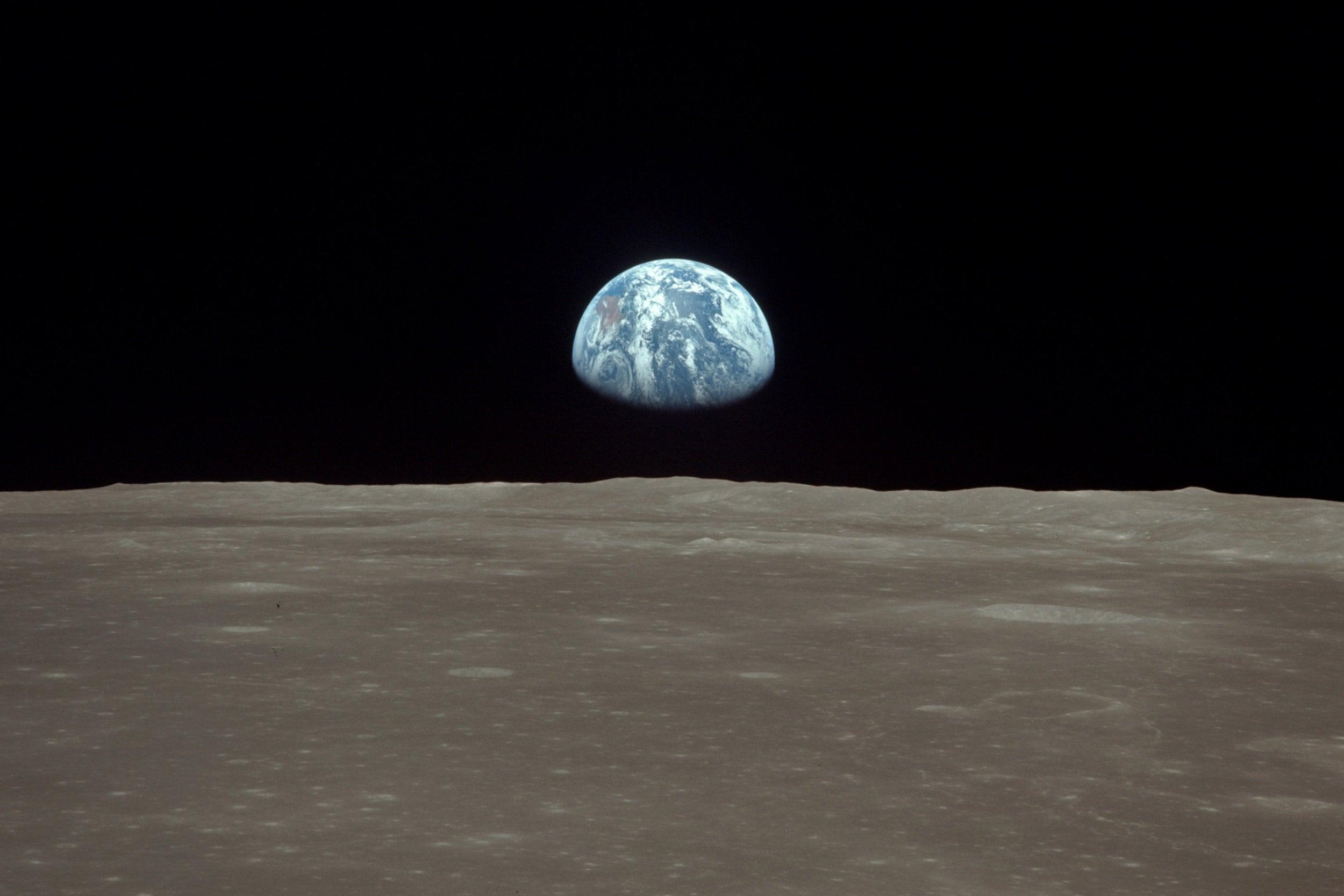 Earthrise viewed from lunar orbit.