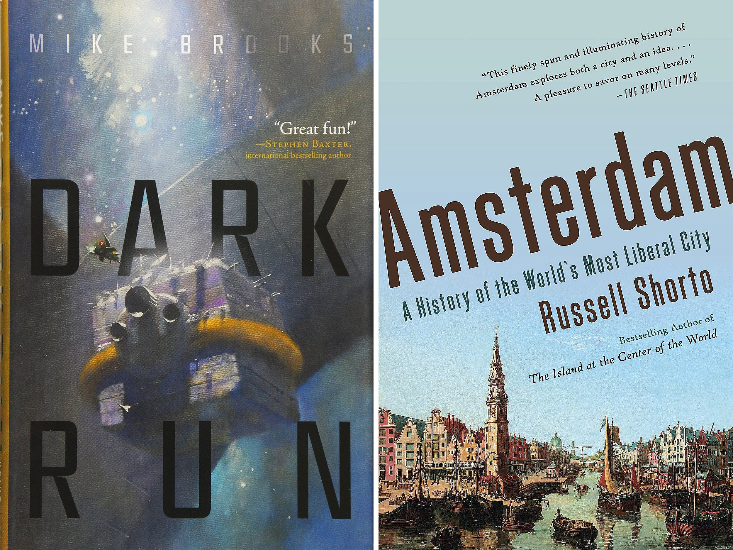 Dark Run and Amsterdam book covers