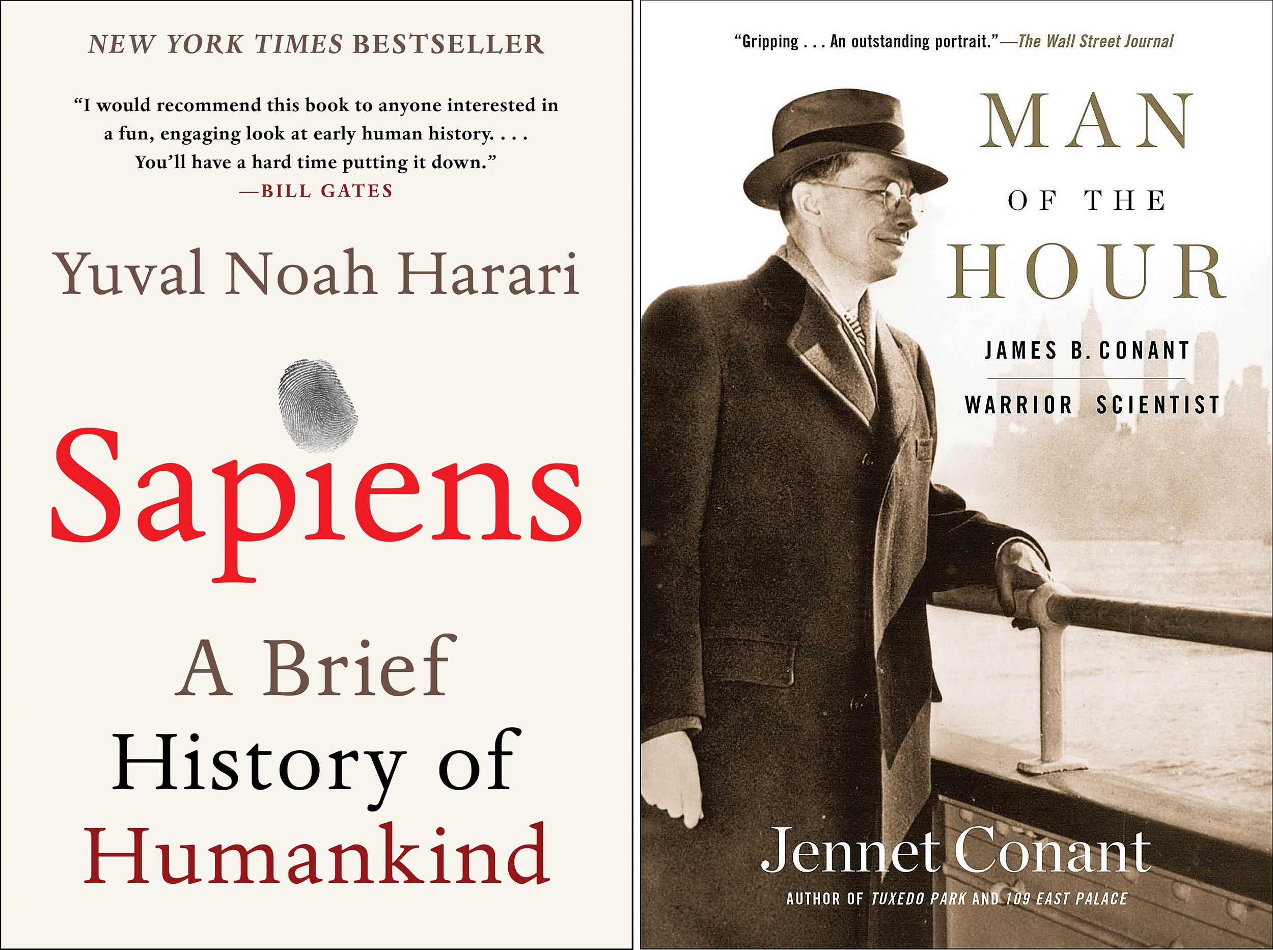 Sapiens and Man of the Hour book covers