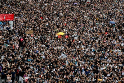 A mass of protesters march in Hong Kong.