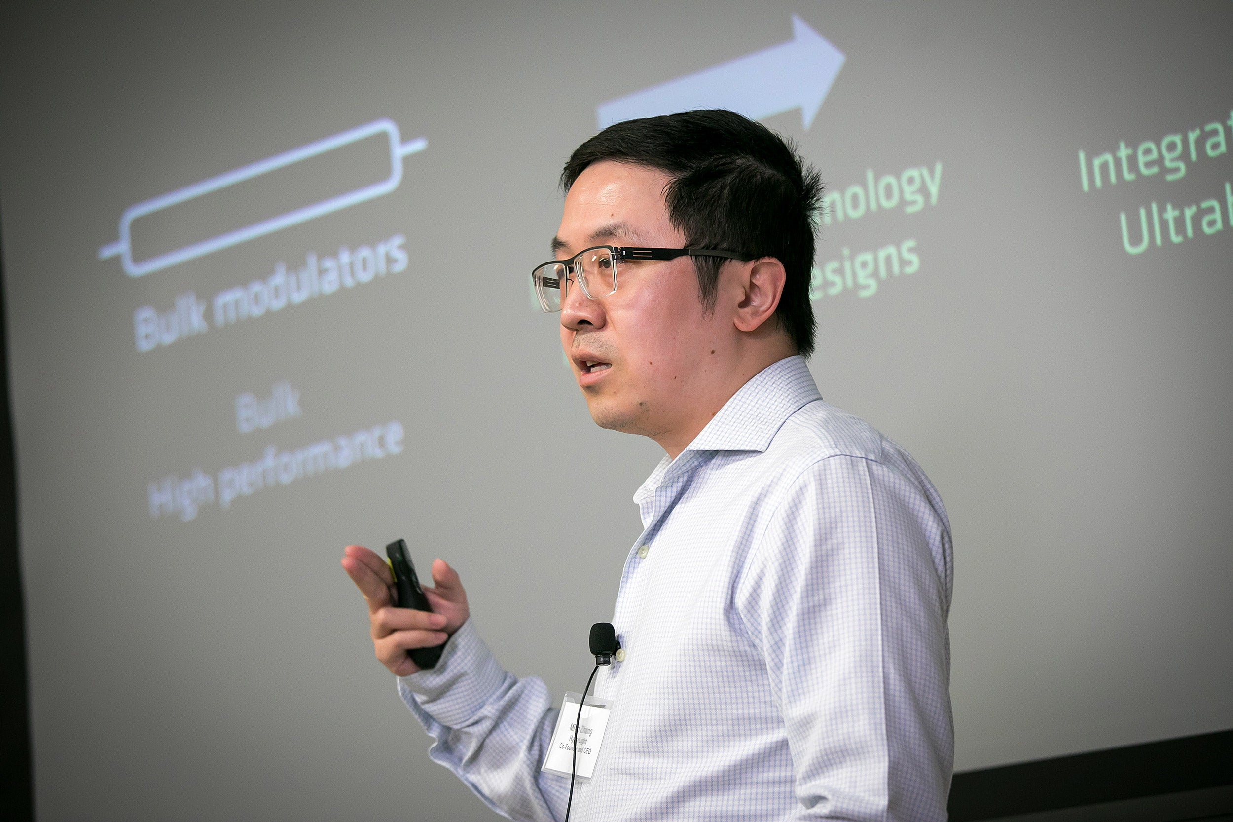 Mian Zhang giving a presentation