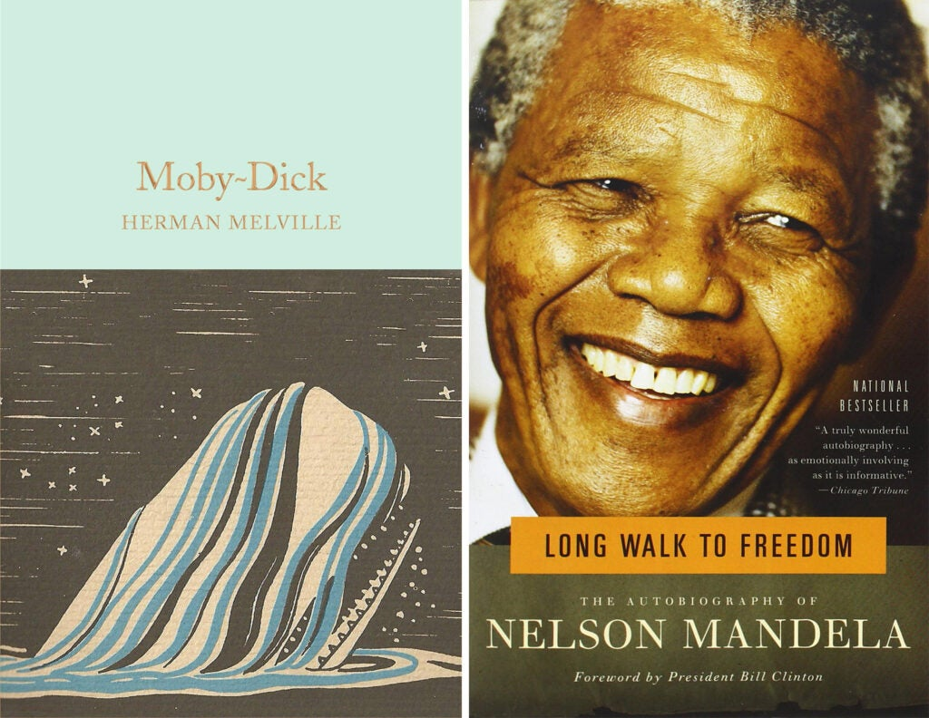 Moby Dick and A Long Walk to Freedom book covers
