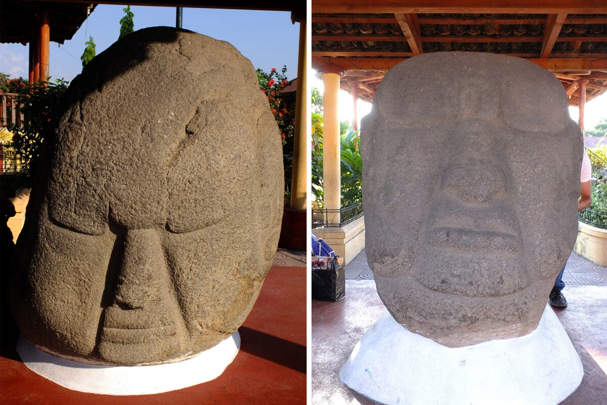 Magnetic scans performed on potbelly sculptures from Monte Alto, Guatemala, now housed in La Democracia, Guatemala, revealed for the first time that they were originally magnetized by lightning strikes pre-dating the carving process.