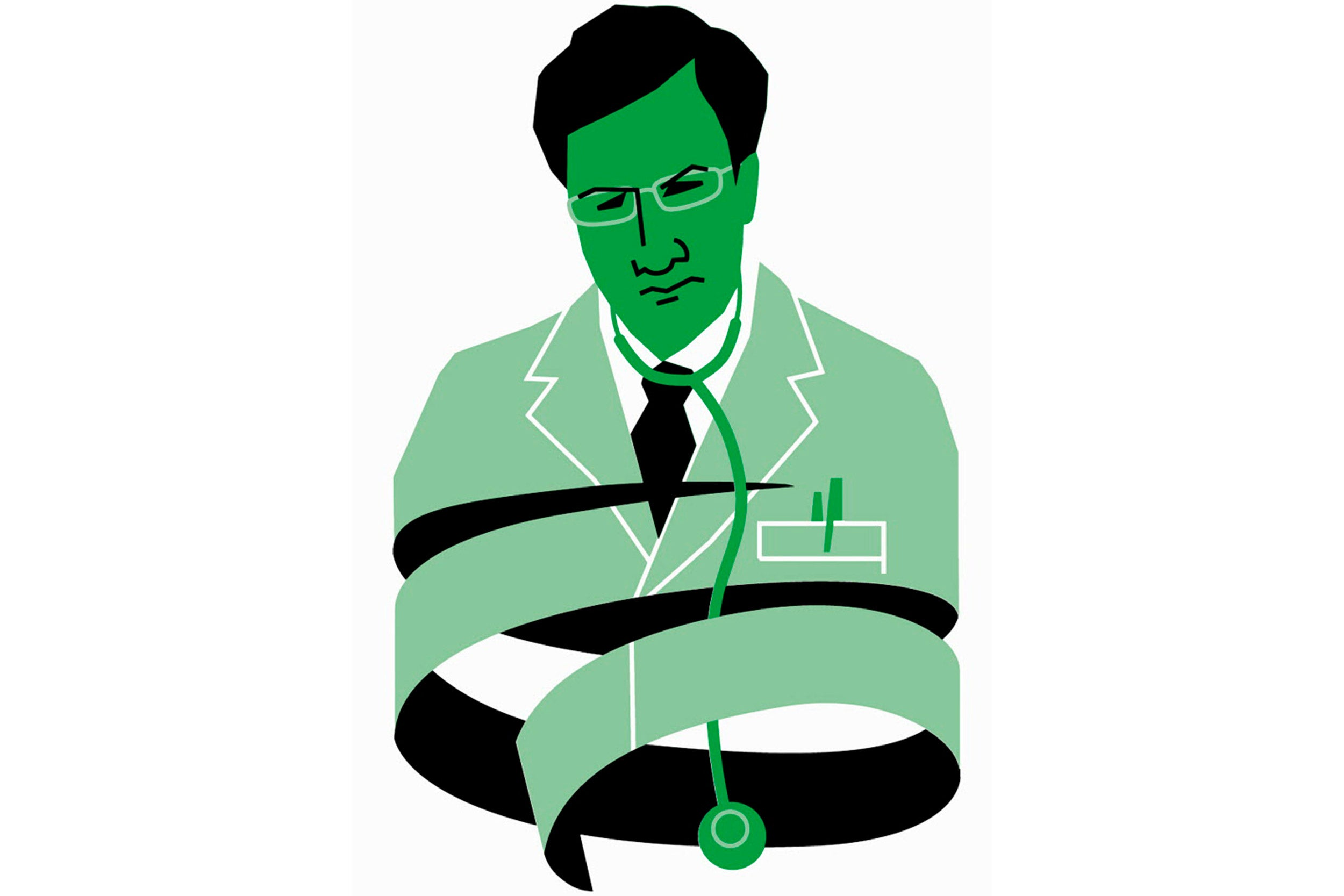 Illustration of a doctor reflecting tied up in paperwork