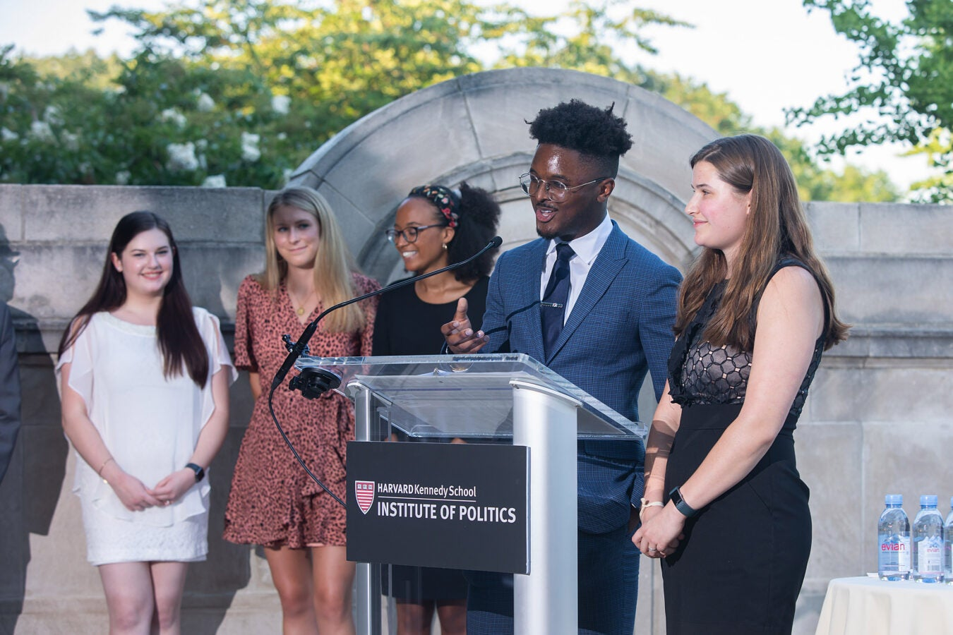 EJayy DeVaughn '20 speaks at the IOP event with Grace Bannister '21 (from left), Anna Duffy '21, Maya Jenkins '21, and Kate Krolicki '20.