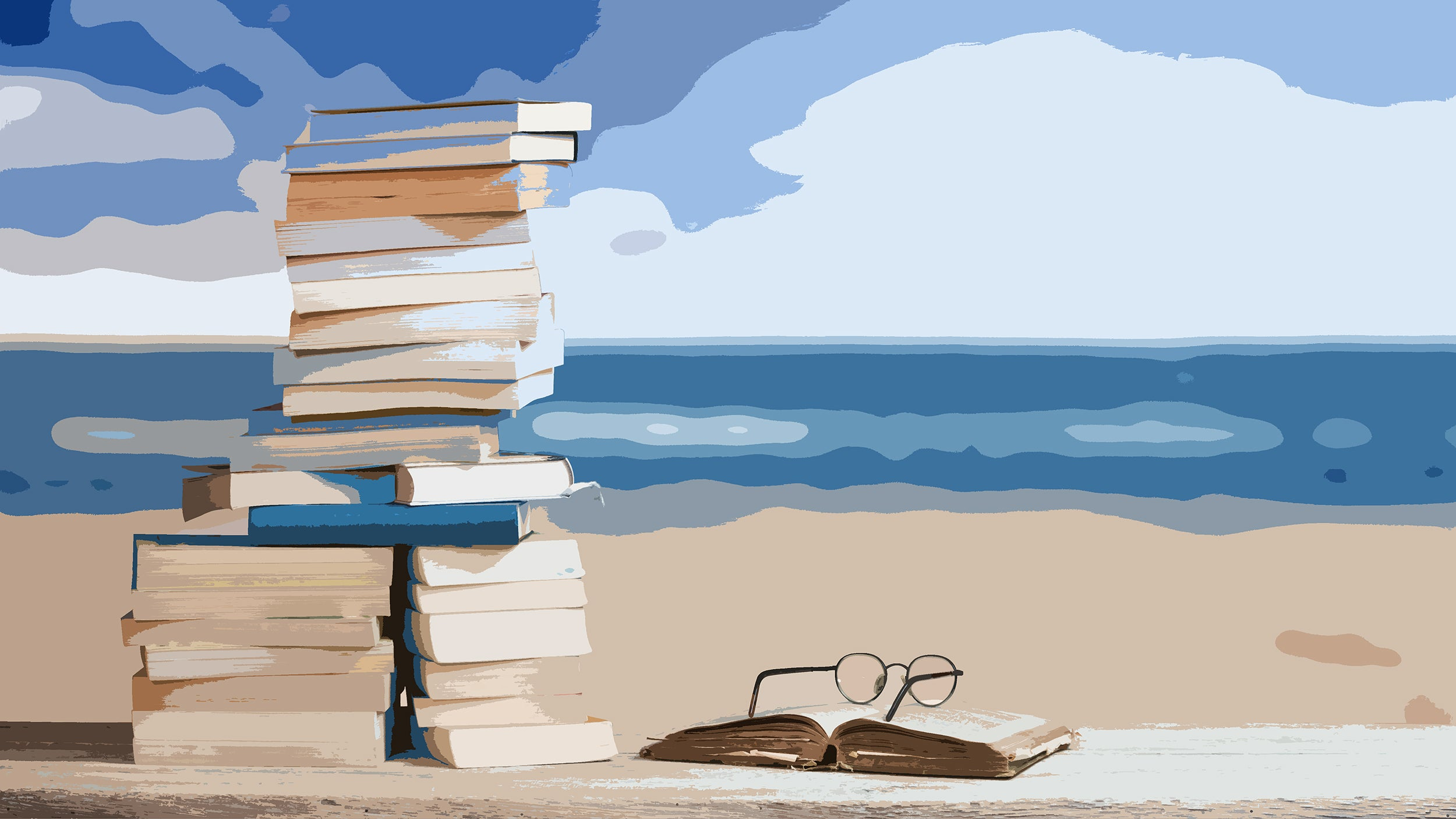 Illustration of books on a beach
