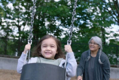 Child on swing