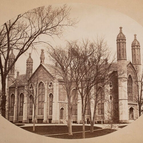 Sepia image of exterior of Gore Hall.