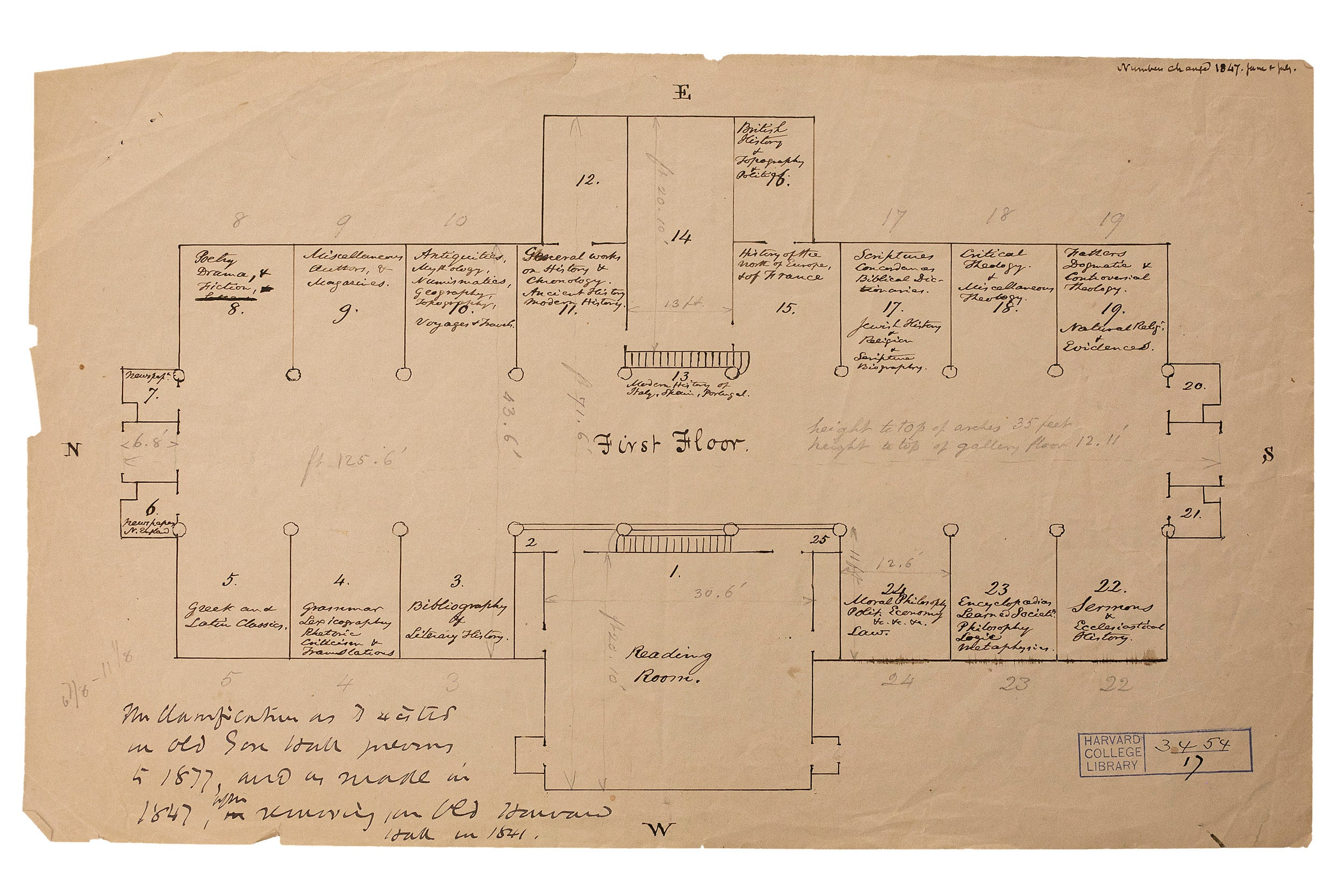 Floor plan for first floor of Gore Hall.