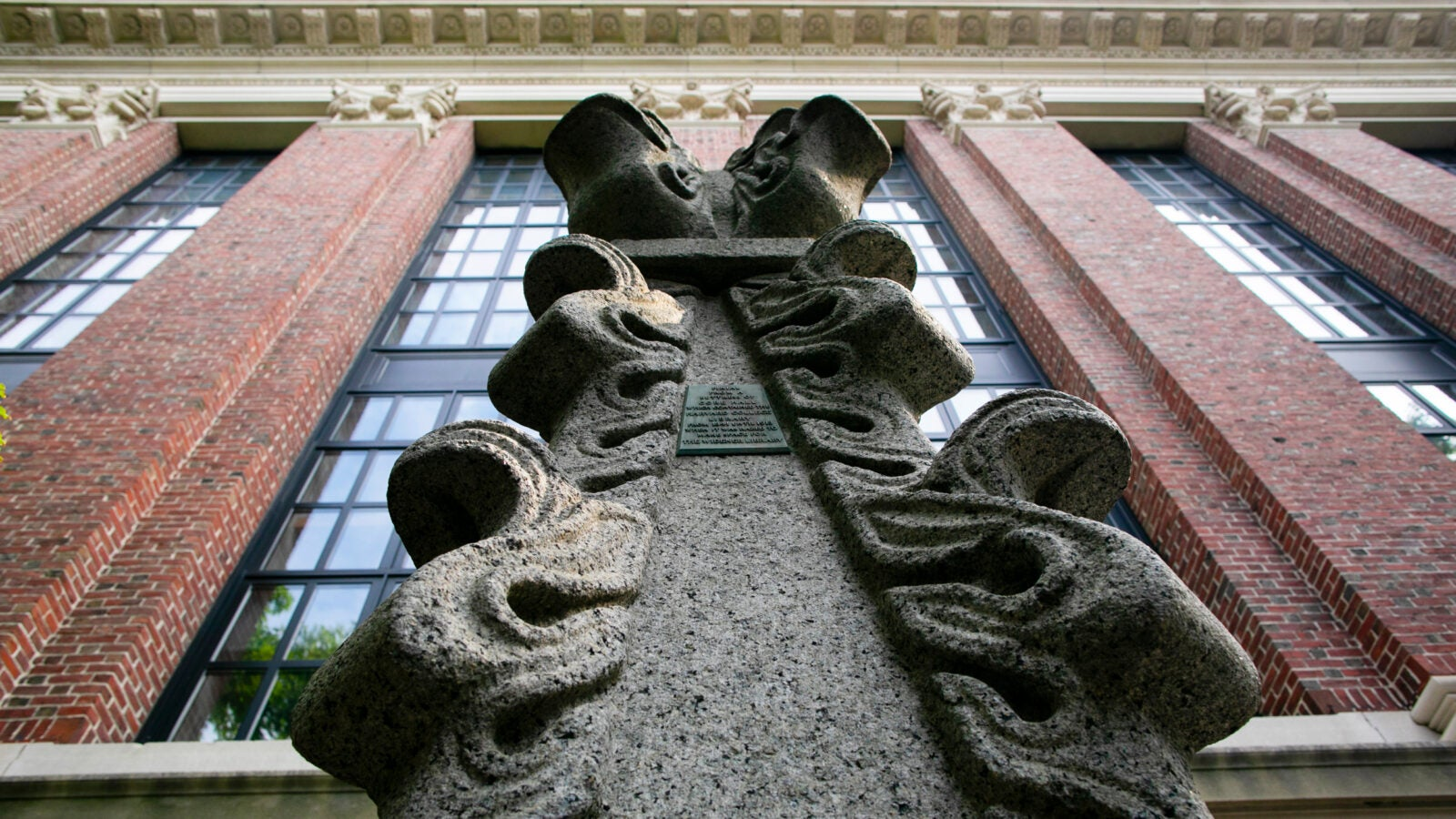 Pinnacle remains from old Gore Hall stands outside Widener Library.