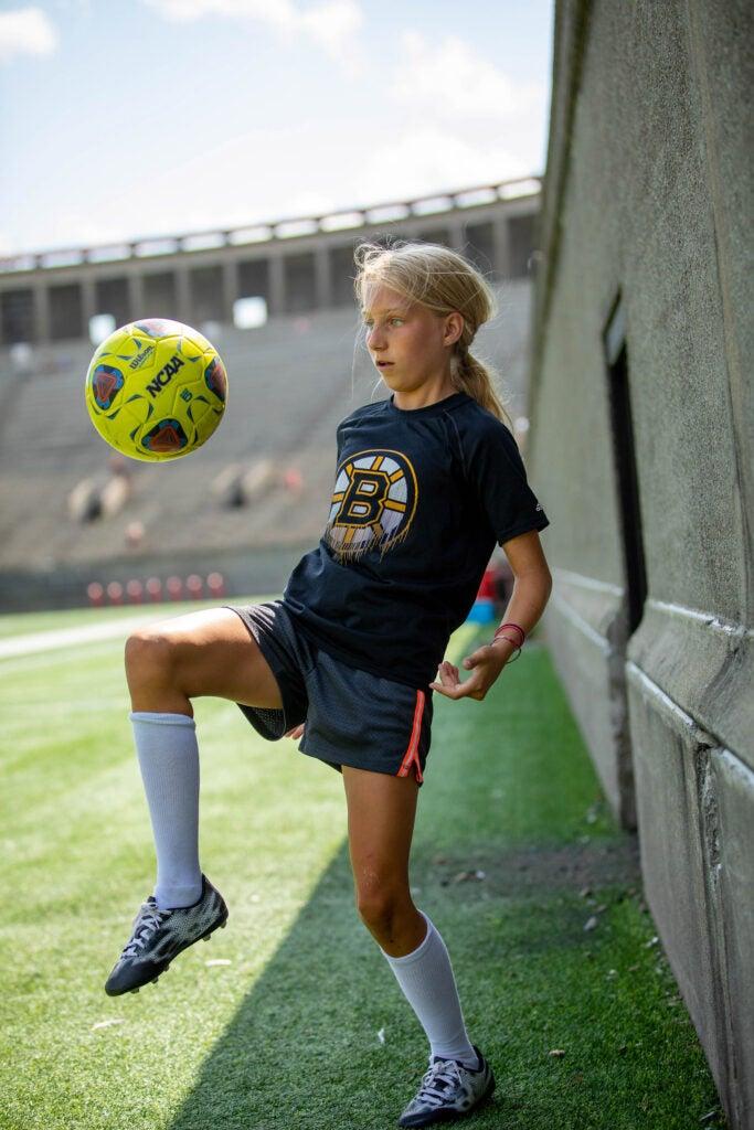 Abigail Hill plays soccer.