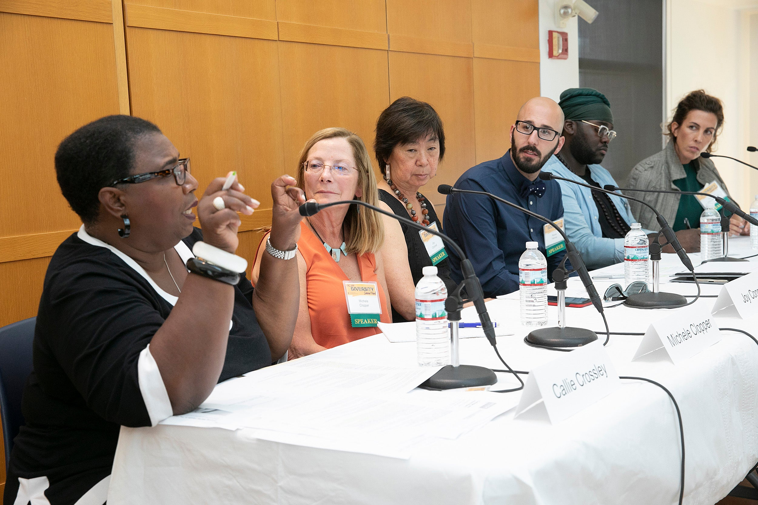 WGBH host Callie Crossley leads a panel on mental health in discussion at Harvard.
