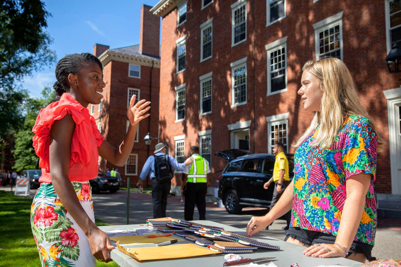 Provost greeting a student