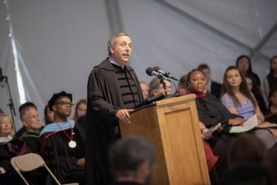 """Anyone who is thinking of the next four years as a series of stepping-stones to a predetermined outcome — be it an award, a concentration, a job, a specific career, or anything else — is a person who will miss the point of this place,"" said President Larry Bacow in addressing the Class of 2023."