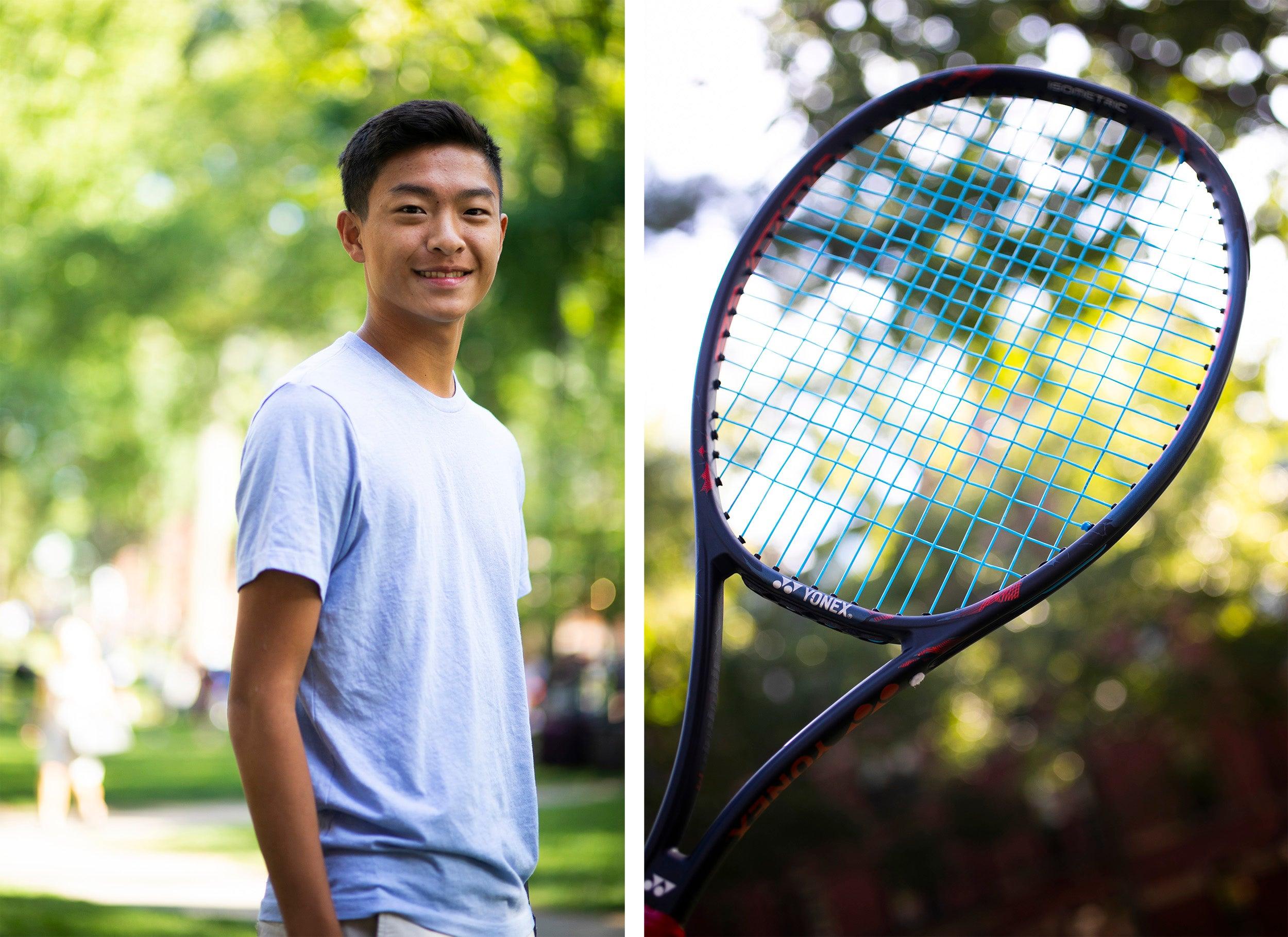 Alan Yim and a tennis racket