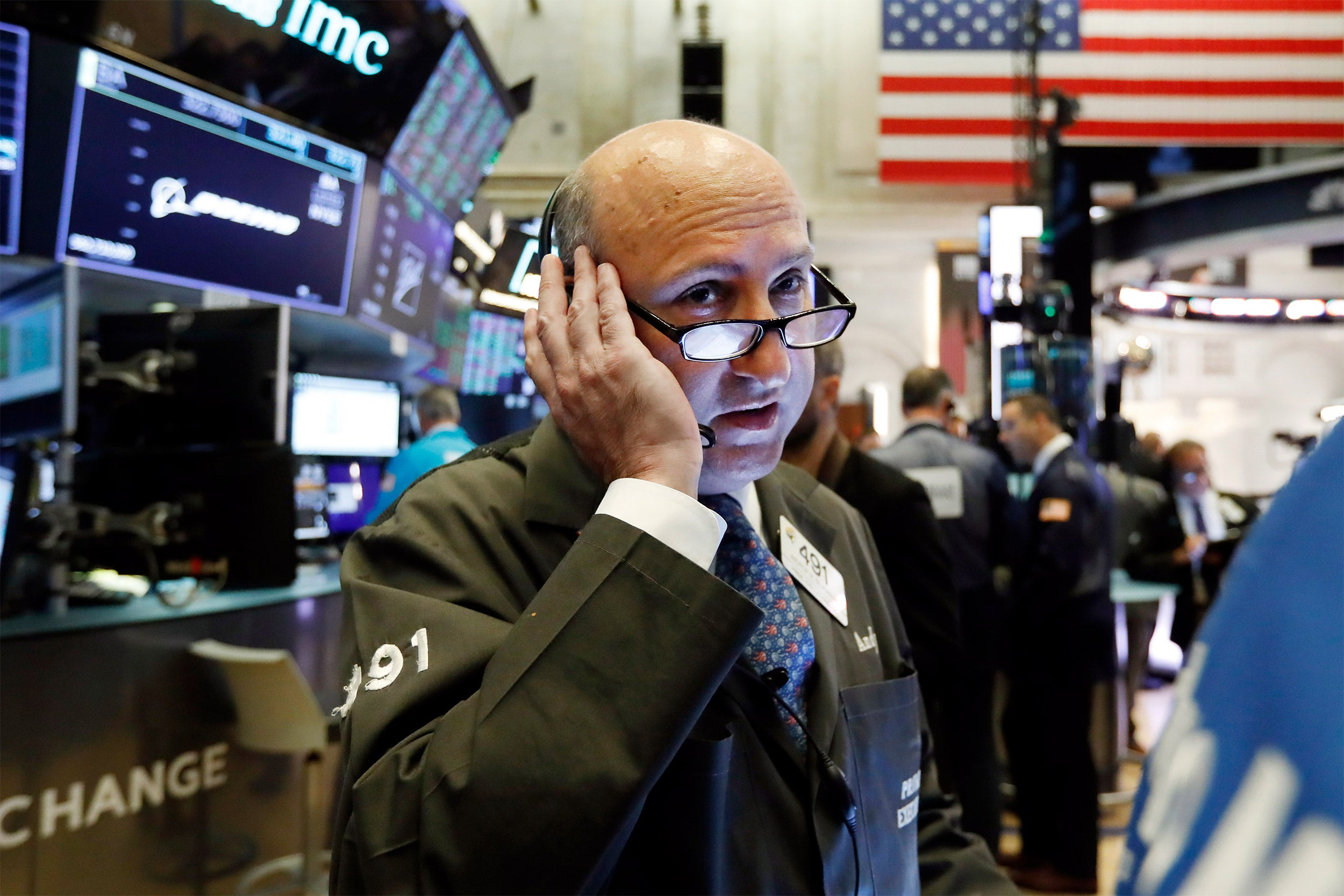 New York Stock Exchange trader on the floor.