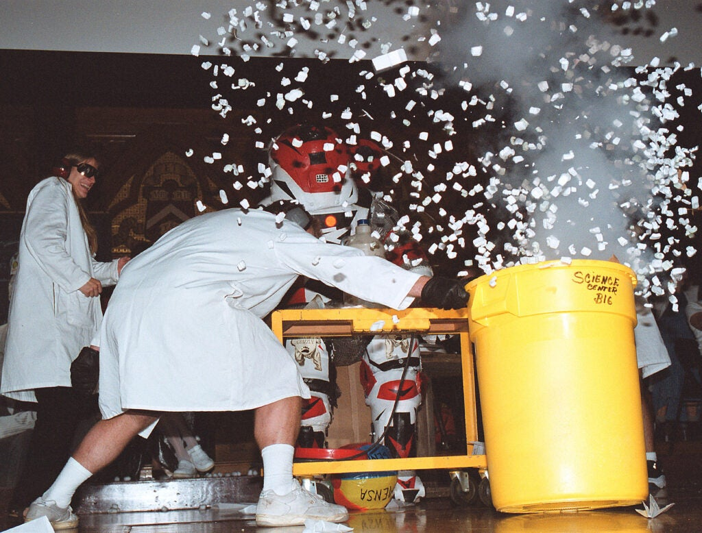 Scientists explode a barrel of confetti