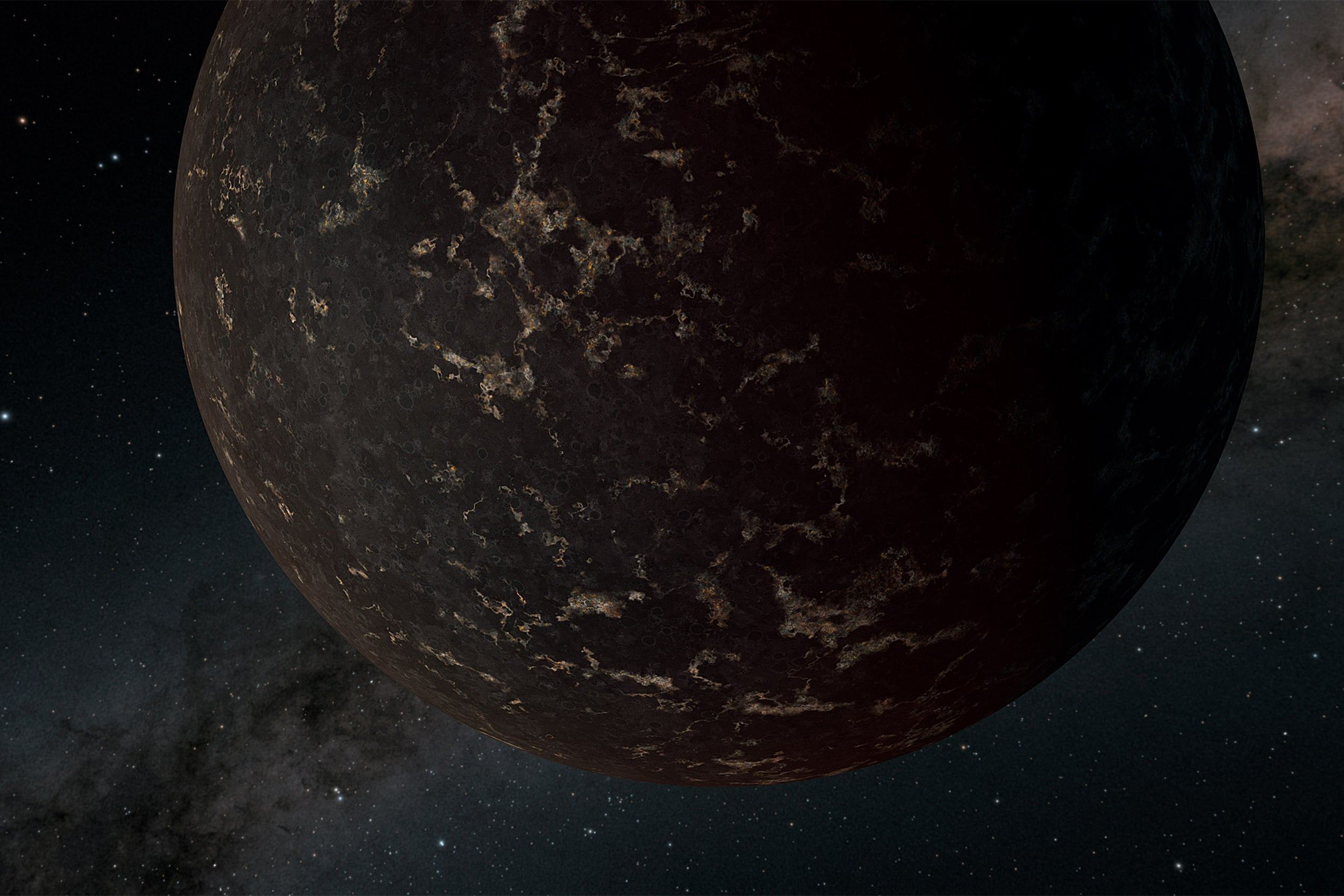 planet is depicted as being largely covered with dark basalt plains.