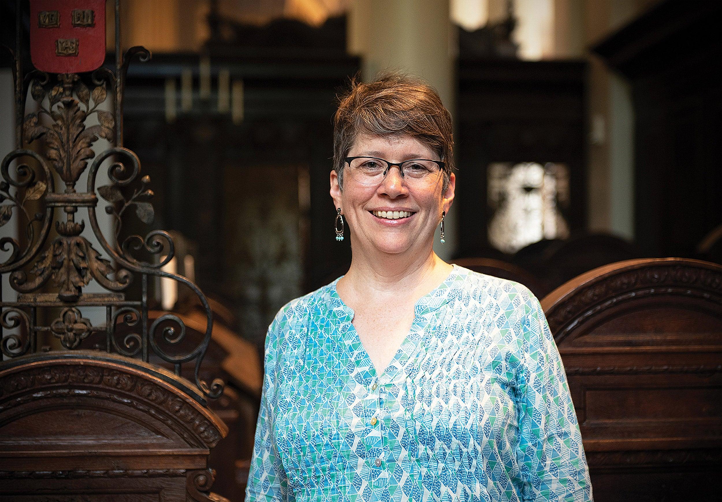 Stephanie Paulsell inside Memorial Church.