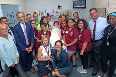 Boston Mayor Martin Walsh with students at the HMS simulation lab