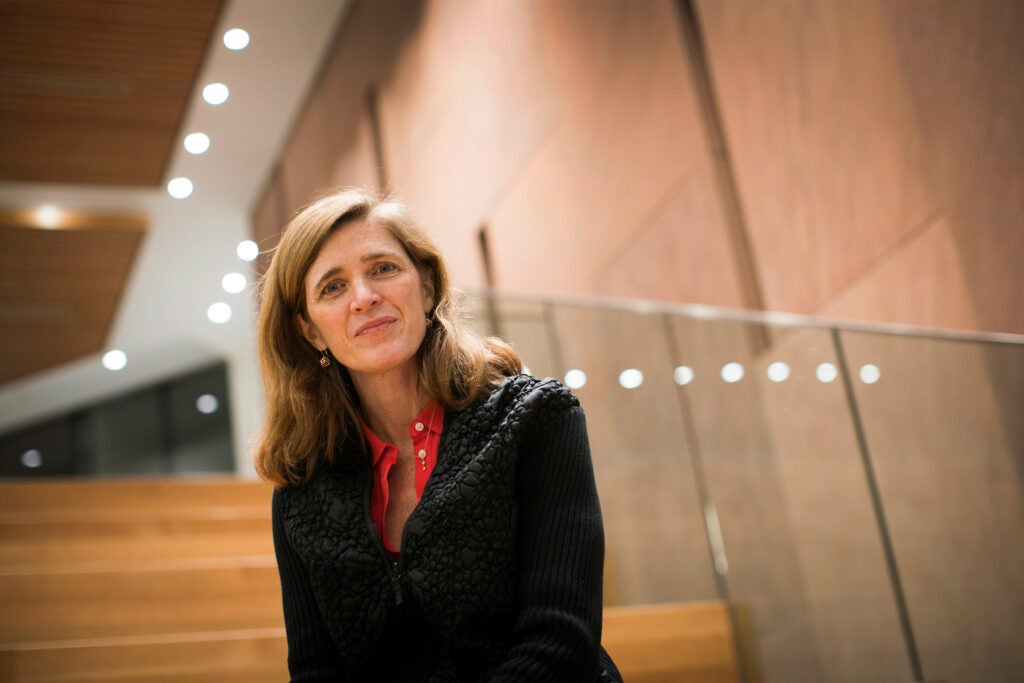 Former United Nations Ambassador Samantha Power is pictured at Harvard Kennedy School