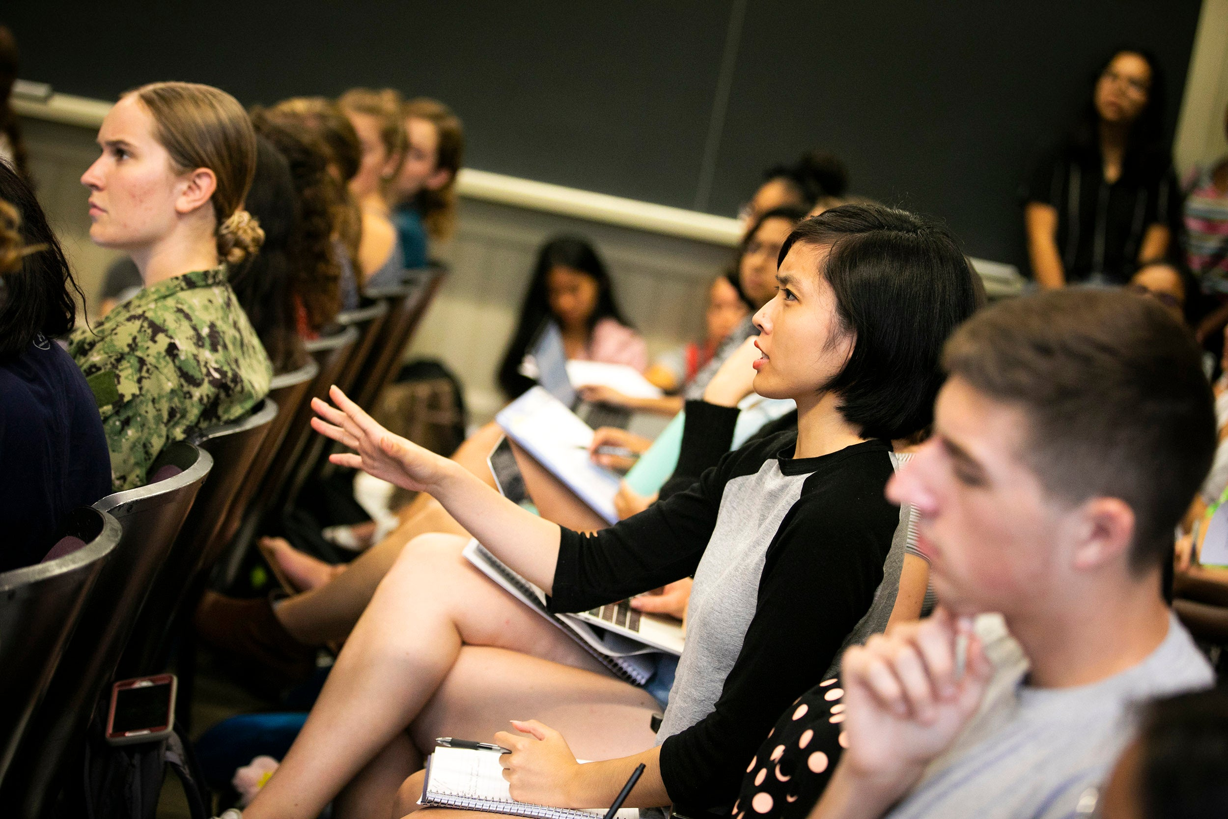 Phoebe Suh speaks during class.