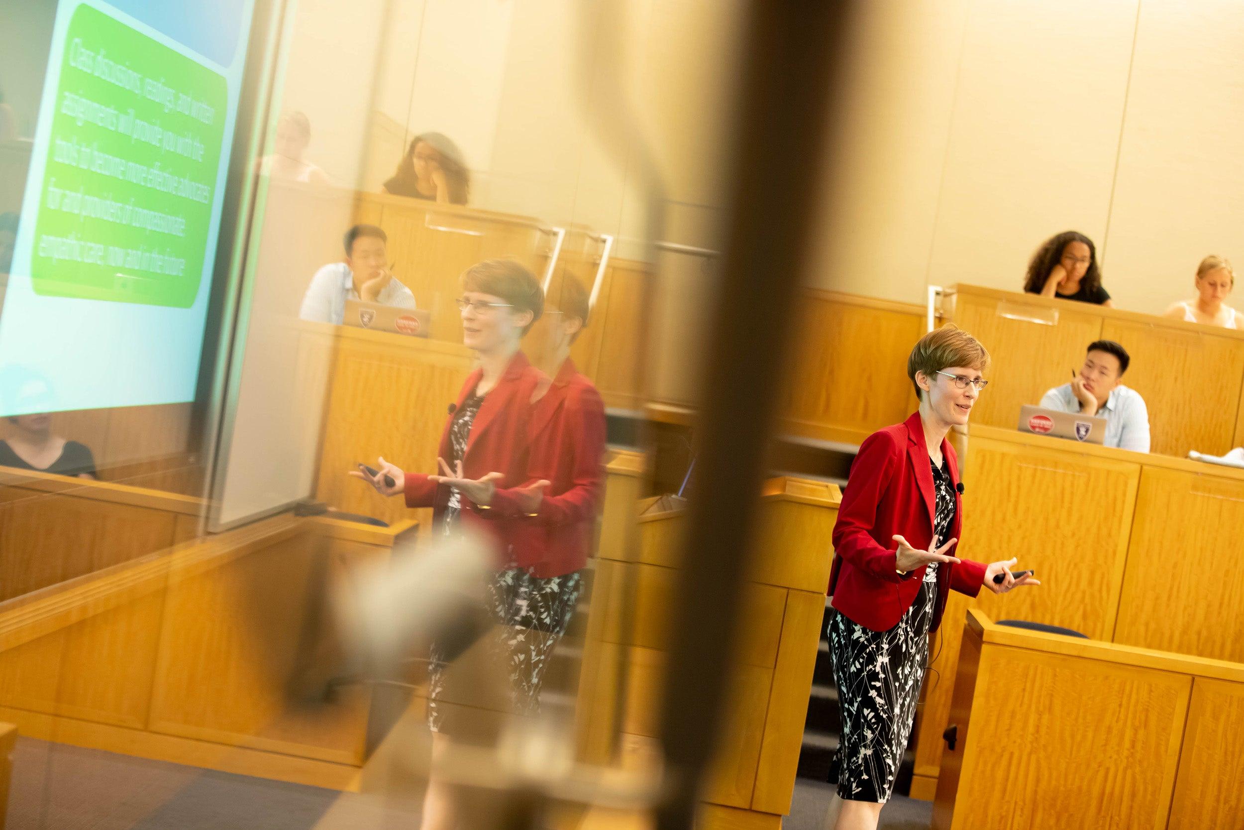 Karen Thornber speaks during class.